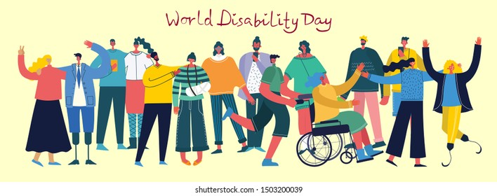 Vector background with disabled people, young handycap persons and friends near helping. World Disability Day. Flat cartoon characters.