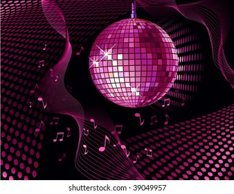 vector background with disco ball and notes