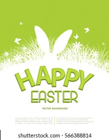 Vector background for Easter. Template for brochure. Rabbit ears sticking out of the grass. Silhouette