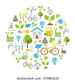 Vector Background - Ecology icons, protection of the environment.