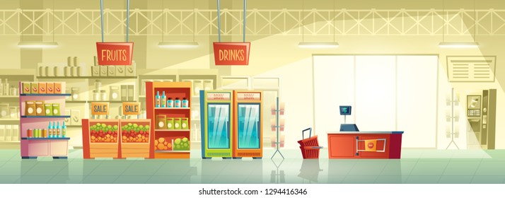 Vector background of empty supermarket at morning, lines with merchandise. Place for retail, mall interior with fridges, stands and shelves. Grocery store, shop with signboard and pointer inside.