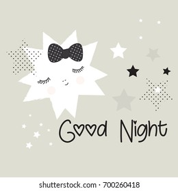 vector background with evening star, good night card vector illustration