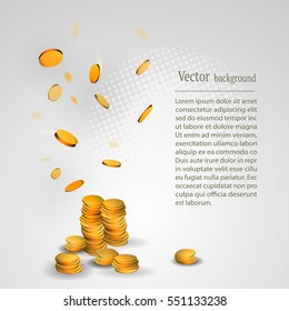 Vector background with falling gold coins. casino concept, win, prize, lotyreya