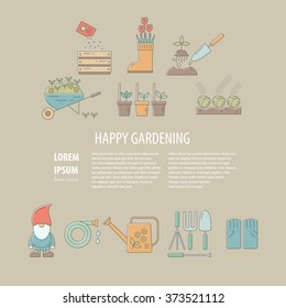 Vector background with farming, gardening and agriculture elements. Colorful template for garden centers, shops, market. Vector flat illustration.