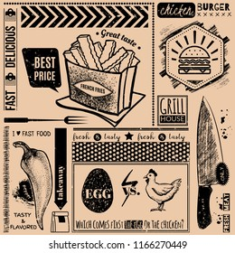 Vector background with fast food symbols. Menu pattern. Vector Illustration with french fries, chicken burger, egg, knife, pepper and lettering on craft paper background.