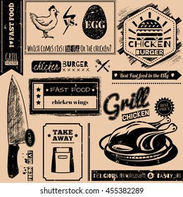 Vector background with fast food symbols. Menu pattern. Vector Illustration with chicken grill, knife and lettering on craft paper background. Decorative elements for packaging design