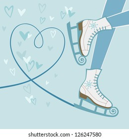 Vector background with feet in figure skates and with blade trail on ice in shape of heart. Winter sport decorative illustration in cartoon style. Original  card with concept of recreation and leisure
