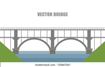 Vector background with flat river and bridge