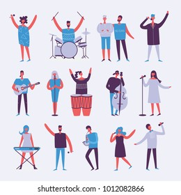 Vector background in a flat style of group of singing, playing guitar, drums, piano, saxophone and other music instrument people