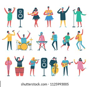 Vector background in a flat style of group of singing and playing music instrument people