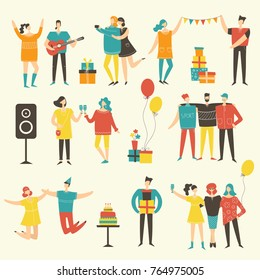 Vector background in a flat style of group of happy best friends celebrating birthday at the party