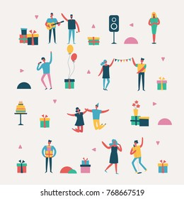 Vector background in a flat style of group of happy best friends celebrating birthday party.