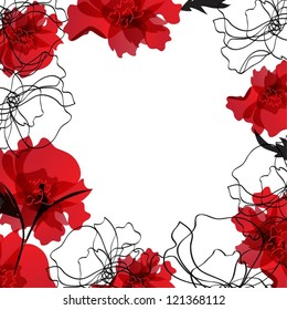 Vector background with floral frame from poppy flowers