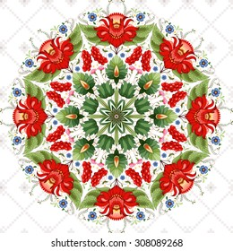 Vector background with floral round ukrainian pattern. Flower in the style of Petrykivka painting and background with ornament similar to cross stitch.