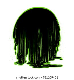 Vector background the flow of luminescent glowing green radioactive sludge. Figure terrible stringy black mass, flowing down in large drops. Holiday Halloween card or banner.