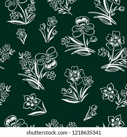 Vector background of flowers bunches