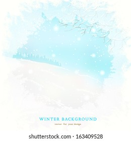 Vector background. Frosted glass and winter landscape.