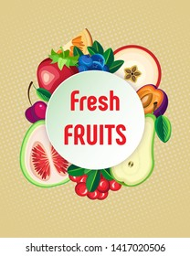 Vector background with fruits and berries and round. On a beige background with halftone.