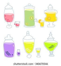 Vector background with glass bottles with homemade lemonade.