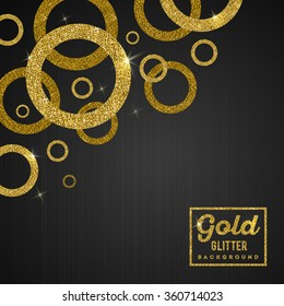 Vector background with glitter golden rings