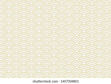 vector background of gold japanese wave pattern
