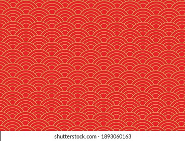 Vector Background of Gold and Red Chinese Wave Pattern