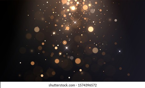 Vector background with golden bokeh, falling golden sparks, dust glitter, blur effect