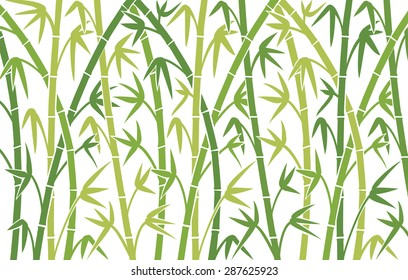 vector background with green bamboo stems