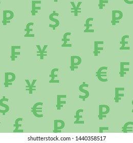 Vector background green color with symbols of popular currencies. Seamless pattern with looped texture for web design, banners and textile.