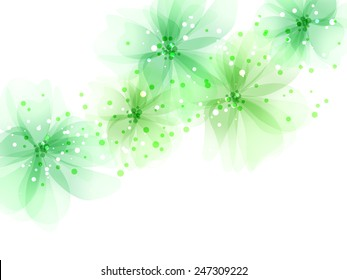 Vector background with green flowers