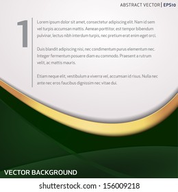 Vector background with green and golden waves