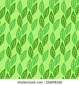 Vector background with green leaves: green tea