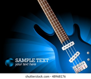 Vector background with guitar; clip-art