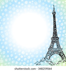 Vector background with hand drawn Eiffel tower
