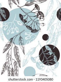 Vector background with hand drawn Eucalyptus drawings. Tasmanian blue gum with leaves, flowers, berries sketches. Wedding botanical illustration. Vintage tree seamless pattern.