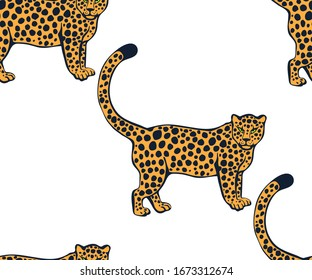 Vector background hand drawn exotic wild animals. Hand drawn ink illustration. Modern ornamental decorative background. Vector pattern. Print for textile, cloth, wallpaper, scrapbooking