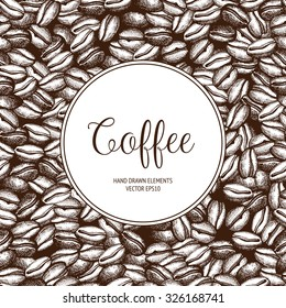 Vector background with hand drawn natural coffee beans. Seamless coffee beans pattern. Vintage coffee design for shop or cafe