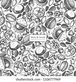 Vector background with hand drawn nuts and seeds sketches. Hazelnut, walnut, pine nut, chestnut, sunflower, flax and pimpkin seeds drawing. Organic food seamless pattern.