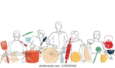 Vector Background with Hand drawn One line Silhouettes of People Cooking and Utensils. Seamless Patten.