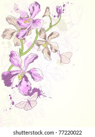 vector background with hand drawn violet orchids