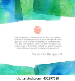 Vector. Background with hand drawn watercolor elements. Handmade watercolor rectangle with multiply effect isolated on white background. Ready to print big background.