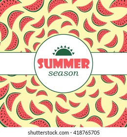 Vector background with hand drawn watermelon  and label. Summer season background.