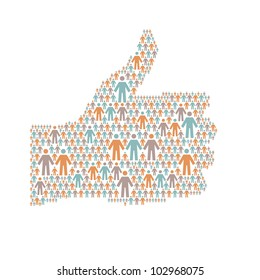 "Vector background with the hand of thumbs up symbol, which is composed of people colorful icon. Abstract illustration with silhouettes of person and sign ""well"". Social media concept for web template"