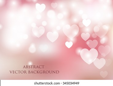 vector background with heart and bokeh effect
