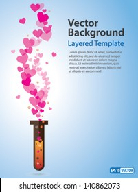 Vector Background - Heart Symbols coming out of a Test Tube. Creative Concept  for showing Love, Health-care, Healthy Lifestyle, Innovation, Invention, and many other ideas.