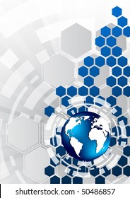 Vector background with hexagon; clip-art