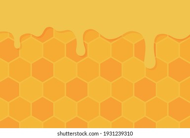 vector background with honey and a honeycomb for banners, cards, flyers, social media wallpapers, etc.