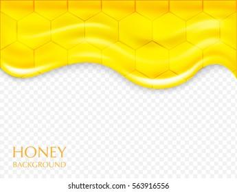 Vector background with honey.Sweet honey drips.