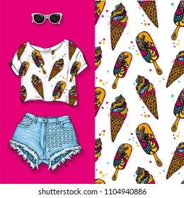 Vector background of horns with ice cream. Vector illustration. Short top and shorts, feminine stylish look. Summer outfit, glasses and shoes. Fashion & Style.