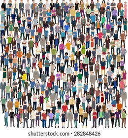 vector background with huge crowd of people standing frontal
